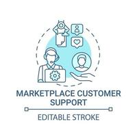 Marketplace customer support concept icon. Choice parameter abstract idea thin line illustration. Provide technical assistance. Good service. Vector isolated outline color drawing. Editable stroke