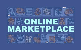 Online marketplace word concepts banner. Remote product selling. Infographics with linear icons on navy background. Isolated creative typography. Vector outline color illustration with text