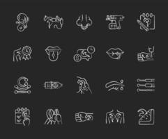 Tattoo and piercing chalk white icons set on dark background. Creating pictures on human skin. Valuable jewellery in body. Professional tools. Isolated vector chalkboard illustrations on black