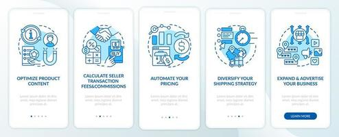 Online market place success onboarding mobile app page screen. Calculate commissions walkthrough 5 steps graphic instructions with concepts. UI, UX, GUI vector template with linear color illustrations