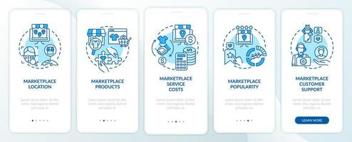 Market place choice parameters onboarding mobile app page screen. Place, goods walkthrough 5 steps graphic instructions with concepts. UI, UX, GUI vector template with linear color illustrations