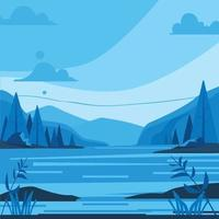 Blue Mountain View By The River Background vector