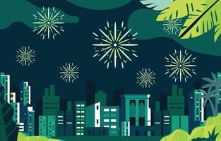 Firework Show With City Landscape Concept vector