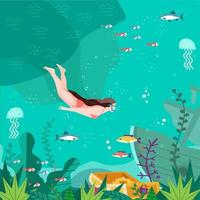 Woman Dive Into The Bottom of The Sea vector