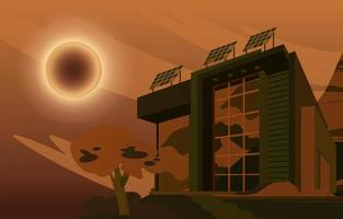 High Tech Building With Solar Eclipse Event Concept vector