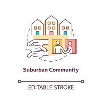 Suburban community concept icon. Communities types abstract idea thin line illustration. Peri-urban areas. Separate residential community. Vector isolated outline color drawing. Editable stroke