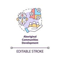 Aboriginal communities development concept icon. Community development abstract idea thin line illustration. Indigenous residents protection. Vector isolated outline color drawing. Editable stroke