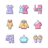 Comfortable sleepwear RGB color icons set. Nightgown and dress for lounging. Sportswear for women. Cross band slippers. Isolated vector illustrations. Homewear simple filled line drawings collection