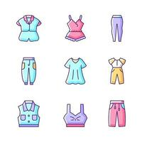 Comfortable homewear RGB color icons set. Silk nightwear. Leggings and joggers. Denim jacket. Oversized dress. Isolated vector illustrations. Sleepwear simple filled line drawings collection