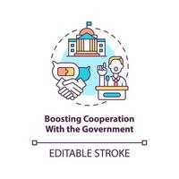 Boosting cooperation with government concept icon. Community development step abstract idea thin line illustration. Civil society protection. Vector isolated outline color drawing. Editable stroke