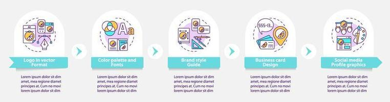 Branding services vector infographic template. Color palette, fonts presentation outline design elements. Data visualization with 5 steps. Process timeline info chart. Workflow layout with line icons