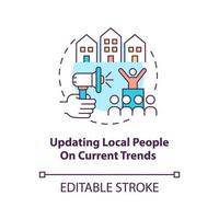 Updating local people on current trends concept icon. Community development abstract idea thin line illustration. Providing public awareness. Vector isolated outline color drawing. Editable stroke