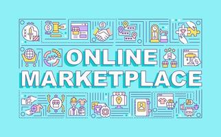 Online marketplace word concepts banner. Remote business. Infographics with linear icons on cyan background. Isolated creative typography. Vector outline color illustration with text