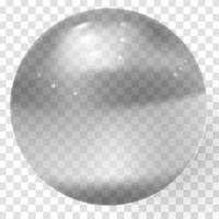 Transparent glass ball Vector glass sphere with shadows