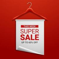 Wooden hanger with paper and the message about the sale offers vector