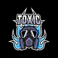 Toxic mask fire mascot gaming logo design for club team squad vector