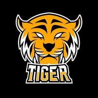 naranja tigre enojado mascota deporte esport logo plantilla colmillos largos vector