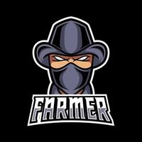 Farmer man mascot gaming logo design black suit mask and hat vector