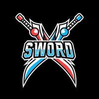 Sword knife war mascot gaming logo design vector template