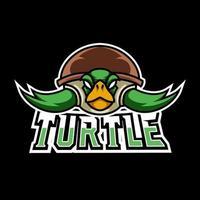 Green turtle ninja mascot gaming logo design tempate for team vector