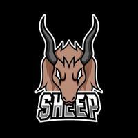 Goat sheep mascot sport esport logo template black fur green horn vector