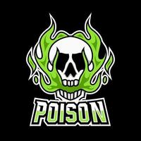 Skull poison toxic mascot gaming logo design template with green fire vector