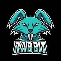Green rabbit long tooth mascot gaming logo design vector template