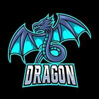 Plantilla de vector de diseño de logotipo de juego de mascota de mosca de dragón azul