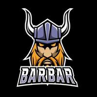 Barbarian helmet mascot sport esport logo template vector