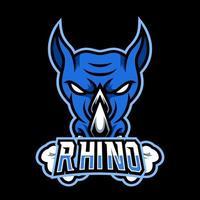 Plantilla de vector de diseño de logotipo de juego de mascota animal indonesio rinoceronte enojado