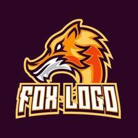 Fox gaming mascot logo design vector template for sport and esport team