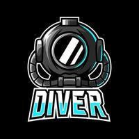 Diver scuba helmet mascot sport esport logo template vector