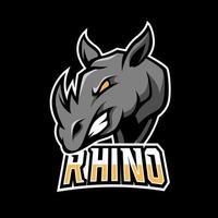 Black angry rhino mascot sport esport logo template vector
