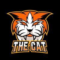 Orange angry cat mascot gaming logo design vector template