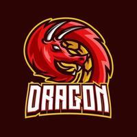 Dragon mascot gaming logo design vector template for sport and esport