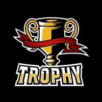 Gold champion trophy sport esport logo template vector