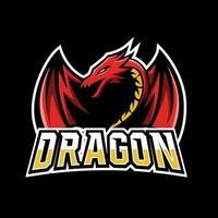 Angry red fly dragon mascot sport esport logo template vector