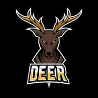 Angry deer sport esport logo template with long horn vector