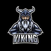 Plantilla de diseño de logotipo de deporte vikingo enojado con armadura, casco, barba gruesa y bigote vector