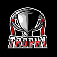 Gold silver champion trophy gaming sport esport logo template vector
