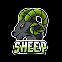 Goat sheep mascot gaming sport esport logo template black fur green horn vector