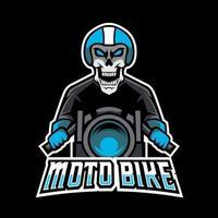 Skull moto bike mascot sport esport logo template vector