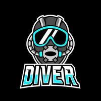 Diver scuba helmet mascot sport gaming esport logo template vector