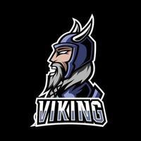 Plantilla de diseño de logotipo de deporte de juego vikingo enojado con armadura, casco, barba gruesa y bigote vector