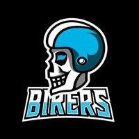 Skull moto bike mascot sport gaming esport logo template for streamer squad team club vector