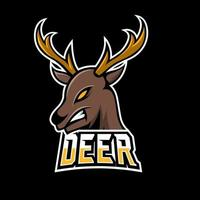 Angry deer sport gaming esport logo template with long horn vector