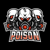 Toxic poison mask sport gaming esport logo template design for squad club team vector