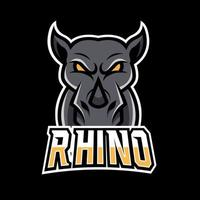 plantilla de logotipo de deporte de juego deportivo de mascota de rinoceronte enojado negro para streamer squad team club vector