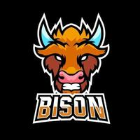 Bison sport or esport gaming mascot logo template, for your team vector