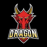 Angry red fly dragon mascot sport gaming esport logo template for streamer squad team club vector